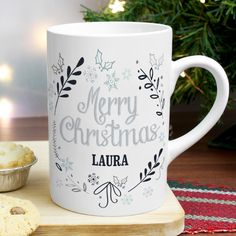 Christmas Frost Slim Mug from personalised-by-you.com - This ceramic Christmas Frost Slim Mug is ideal for enjoying a warm drink on a cold winter's night!