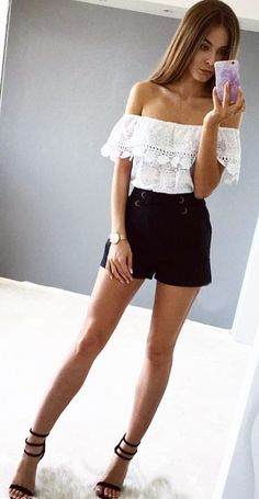 #summer #outfits  White Ruffle Off The Shoulder Top + Black Short + Black Sandals