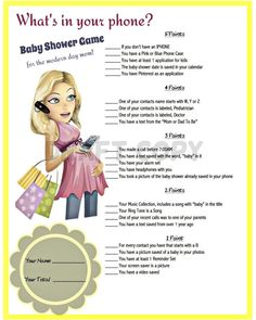 Baby Shower GameWhats in your phone by 31Flavorsofdesign on Etsy
