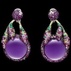 de Grisogono ~ Earrings in white gold with amethysts, white diamonds, emeralds, peridots, rubies and pink sapphires