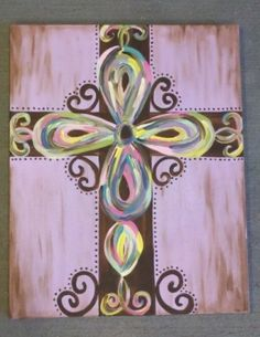 Hand Painted Cross on Canvas by PaintItPinkbyCarri on Etsy Cross Canvas Paintings, Canvas Art, Painted Canvas, Canvas Ideas, Hand Painted Crosses, Cross Art, Mystery, Paint And Sip, Beginner Painting