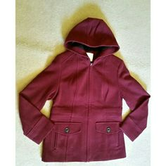 """FINAL PRICE"" Hooded coat NWOT  Shell 80 % wool 20 % nylon combo 100 % polyester  Lining 100 % polyester  Dry clean Made in Vietnam  Color maroon Like new Very good condition  Rarely worn Croft & Barrow Jackets & Coats"