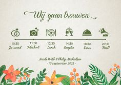 Originele uitnodigingskaart voor jullie huwelijk met een tijdlijn van jullie dagindeling. In een vintage bohemian stijl met geschilderde bloemen. Deze trouwkaart is verkrijgbaar bij #kaartje2go voor € 1,89