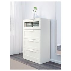 IKEA - BRIMNES, dresser, white/frosted glass, , Smooth running drawers with pull-out stop. Dresser Storage, 4 Drawer Dresser, Drawer Unit, Chest Of Drawers, Locker Storage, Shoe Storage, Bedroom Storage, Brimnes Wardrobe, Ikea Family