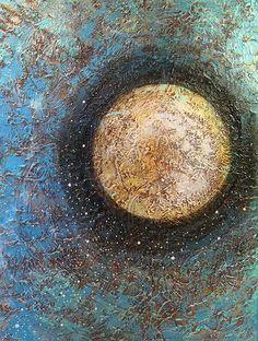 Buy Metallic Painting Spiritual Art Abstract Landscape Sun Moon Sky Zen Yoga Artwork - Divine Solitude