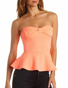 Textured Bow-Front Strapless Peplum Top: Charlotte Russe