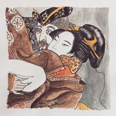 """Testing out some other media, and since I'm a big fan of #japanese traditional art, here is a #miniature #drawing based on #eisho's """"European with a #courtesan"""". #illustration #the365drawings #pattern"""