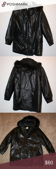 """FIELD GEAR Black Leather Coat Medium Thermolite Field Gear  Mint Condition  Jacket or Coat  Black  Two Front Pockets  Zip Front With Snaps  Lined  Thermolite Plus Insulation  Hood With Real Fox Fur and Drawstring  Hood Removeable With Zipper  Snaps At Sleeve Hems       Chest:  47"""" (armpit to armpit, then doubled)  Sleeve Length:  23""""  Length:  33"""" (top of shoulder then down)  Shoulder Seam to Shoulder Seam:  20""""  Shell:  100% Leather  Lining:  50% Nylon and 50% Acetate  Filler:  100%…"""