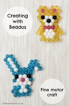 creating cute pictures with Beados, water bead pictures. This craft is great for fine motor skills