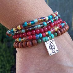Colorful Gypsy Woman Chic Beaded Stretch Bracelet