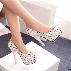 Para Mujer a Lunares Con Lazo Bombas de la plataforma oculta Slim Zapato Taco Alto Zapatos