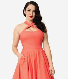 fb1adf8a83e Unique Vintage + Pantone 1950s Style Living Coral Rita Halter Flare Dress