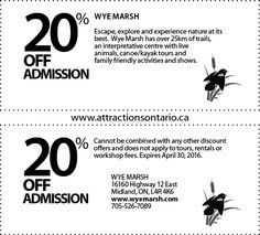 Wye Marsh Wildlife Centre - 2015 Summer Coupon Ontario Attractions, Kayak Tours, Live Animals, Canoe And Kayak, Kayaking, Coupons, Centre, Wildlife, How To Apply