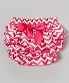 Take a look at this Hot Pink & White Satin Zigzag Diaper Cover - Infant by Diapers & Denim on #zulily today!