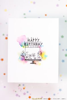Watercolour Cloud Birthday Cake Card (With images) Watercolor Birthday Cards, Birthday Card Drawing, Birthday Cake Card, Calligraphy Birthday Card, Creative Birthday Cards, Handmade Birthday Cards, Happy Birthday Cards, Birthday Greetings, Birthday Greeting Cards