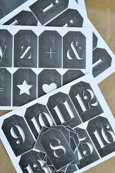 Printable Chalkboard Tags - the whole alphabet and some shapes/symbols.  Print out and attach to any gift to add a touch of cute.