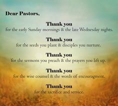 Have you said Thank You to your pastor recently?