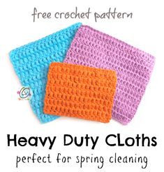 Free Pattern: Heavy Duty Cloths that will help get even the hard jobs done! Scrap Yarn Crochet, Crochet Towel, Crochet Dishcloths, Easy Crochet, Crochet Hooks, Free Crochet, Crochet Headbands, Hanging Towels, Yarn Tail