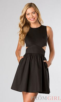 Short Black Sleeveless French Connection Dress at PromGirl.com