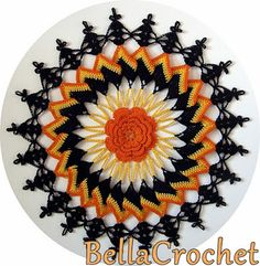 Trick or Treat Doily: A Free Crochet Pattern For You By Elizabeth Ann White For BellaCrochet. A stunning doily to crochet for this Halloween in black and orange tones! Free Pattern More Patterns Like This! Crochet Doily Patterns, Thread Crochet, Crochet Doilies, Weaving Patterns, Crochet Designs, Crochet Ideas, Knitting Patterns, Crochet Home, Free Crochet