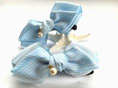 爽やかソーダ水♡バナナクリップ(滑り止め付き)♡水色、コットンパール、ストライプ|ヘアアクセサリー|ribbonbow|ハンドメイド通販・販売のCreema