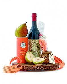 Perfect hostess gift: Start with an exceptional red vermouth and then round out the gift with foods that complement its flavors: citrusy butter cookies, candied blood-orange peels, hazelnut honey, and a special variety of California pear. Complete it with a paring knife and wooden tray (handy for your host long after the last pear has been sliced).