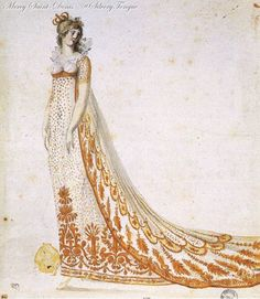 Design of a dress for the Empress Josephine,1804.