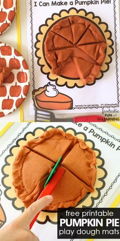 Introduce fractions with this Thanksgiving pumpkin pie play dough invitation and free printable play dough mats Use this Pumpkin Pie Play Dough Fractions Free Printable for Thanksgiving activities with preschoolers and kindergarteners. Preschool Learning Activities, Preschool Classroom, In Kindergarten, Preschool Activities, Thanksgiving Activities, Autumn Activities, Kindergarten Thanksgiving, Fractions, Homeschool Math
