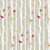 birdhouse fabric by troismiettes for sale on Spoonflower - custom fabric, wallpaper and wall decals LOVE THIS!!!!!!!!!!!!!!!!!!!!!!!