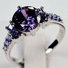 'Beautiful Amethyst 10KT White Gold Ring sz7/8/9 ' is going up for auction at  9pm Fri, Oct 12 with a starting bid of $8.