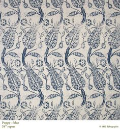 Poppy in Blue from Tylergraphic #textiles #fabric #blue