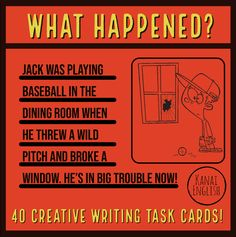 What happened? Reading Resources, School Resources, Writing Activities, Teaching Reading, Teacher Resources, Classroom Resources, Cool Writing, Creative Writing, Writing Lessons