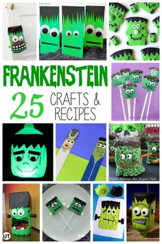 It's aliiiiive! Our favorite list of 25 Frankenstein Crafts & Recipes for Kids, that is! Get into the Halloween spirit with these spooky crafts and treats! Halloween Math, Halloween Activities For Kids, Theme Halloween, Holidays Halloween, Halloween Cupcakes, Halloween Halloween, Halloween Costumes, Halloween Labels, Art Activities