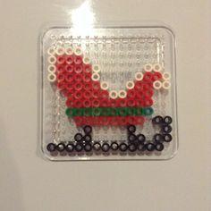 Santa Claus sleigh perler beads by perlerbeadss