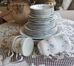 LENOX Lace Point Tea Cups Bulk China Set, Floral Gray Band Platinum ...