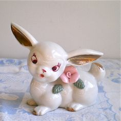 Vintage  Bunny with beautiful pink roses.