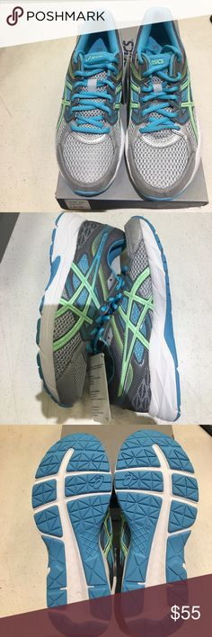 Brand new in box asics sneakers Brand new in box asics gel- contend 3 sneakers. Light blue, light green, and gray. 100% authentic Asics Shoes Sneakers