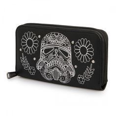 Star Wars Storm Trooper Walking Stitch Floral Denim Wallet - Wallets