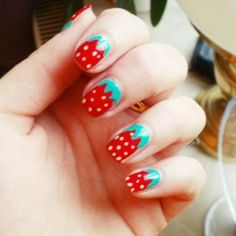 Strawberry nail art by Elle Fowler