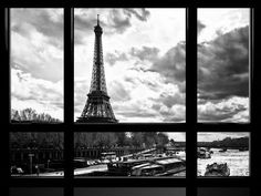 Window View, Special Series, Eiffel Tower and the Seine River, Paris, Black and White Photography Photographic Print by Philippe Hugonnard at AllPosters.com