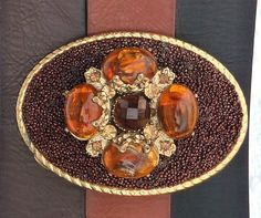 Women's Custom Belt Buckle  Gold Brown Amber ALteReD by AngelGrace, $39.99