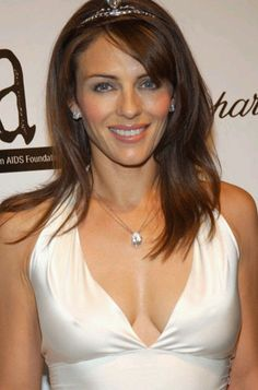 Liz Hurley with pear shaped pendant