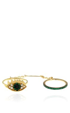 Two In One Eye Ring Emerald by  for Preorder on Moda Operandi