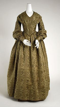 DRESS (Metropolitan Museum) Date: ca. 1838 Culture:American Medium:Silk Credit Line:Gift of George Coggill and James C. Victorian Era Fashion, 1800s Fashion, 19th Century Fashion, Vintage Fashion, Vintage Beauty, 1800s Clothing, Antique Clothing, Historical Clothing, Historical Costume