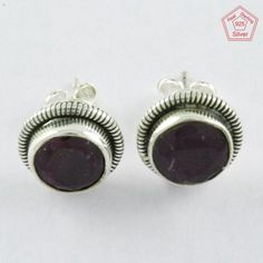 BEAUTIFUL ROUND SHAPE RUBY STONE 925 STERLING SILVER EARRINGS STUDS ST4222 #SilvexImagesIndiaPvtLtd #Stud