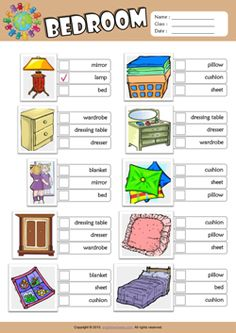Bedroom ESL Multiple Choice Worksheet For Kids English Primary School, Learning English For Kids, English Worksheets For Kids, Kids English, English Activities, Language Activities, Teaching English, Learn English, Printable English Worksheets