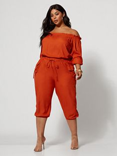 Jenny Off-Shoulder Utility Jumpsuit - Fashion To Figure Trendy Plus Size Dresses, Plus Size Womens Clothing, Plus Size Outfits, Plus Size Summer Clothes, Plus Size Fashion For Women Summer, Trendy Plus Size Fashion, Plus Size Romper, Plus Size Jumpsuit, Hipster Grunge