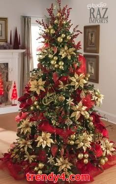 Poinsettia Christmas Tree Red And Gold Color Scheme Christmas  - Country Decorated Christmas Trees