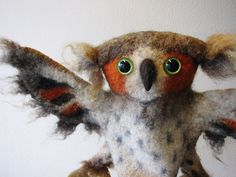 the great horned owl wet felted hand puppet by bibabo on Etsy