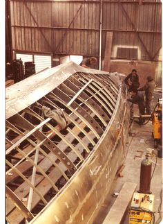 "https://flic.kr/p/g8zQw6 | The guys who built Challenge 12 during 1982 in Steve Ward's shed. | My memory is struggling to pick out names but the boat builders here where. The ""Angry Ant"" I never got to hear his proper name. James and Terry and Lou. With Yarnie the engineer and of course Steve Ward. Others came and did there bit to torture board ( fair with filler and Paint etc etc. A well oiled team and great guys to work with when I was there later in the program."